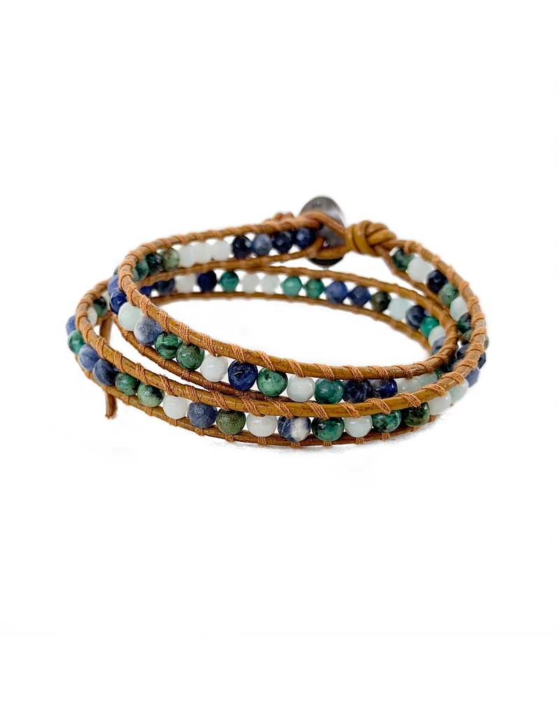 CHAN LUU African Turquoise Mix Double Wrap Bracelet