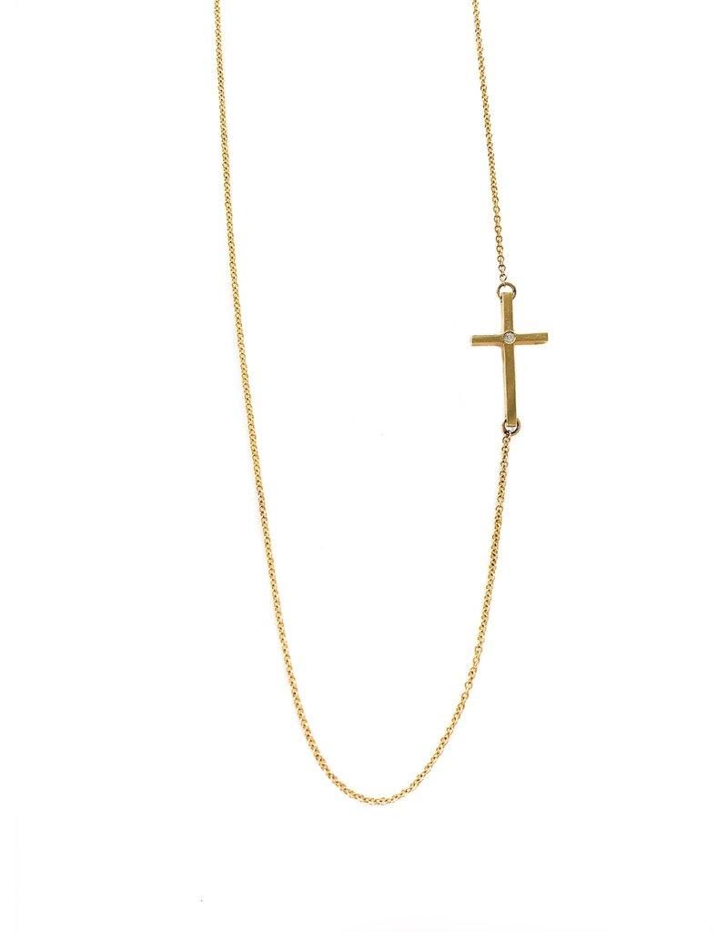 MIZUKI Sideways Diamond Cross Necklace