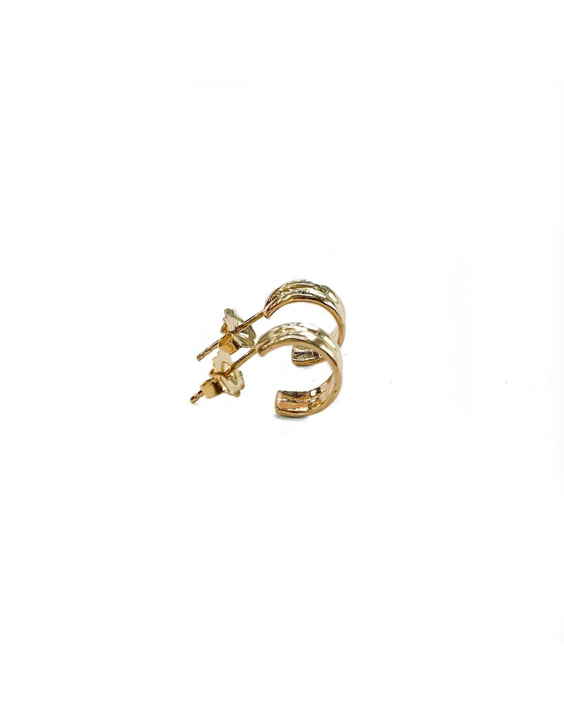 SHANNON JOHNSON Gold Double Band Huggie Earrings