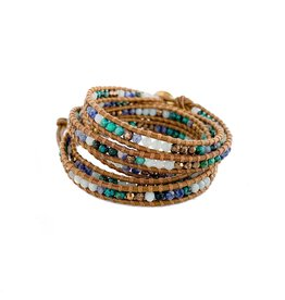 CHAN LUU African Turquoise Mix 5 Wrap Bracelet