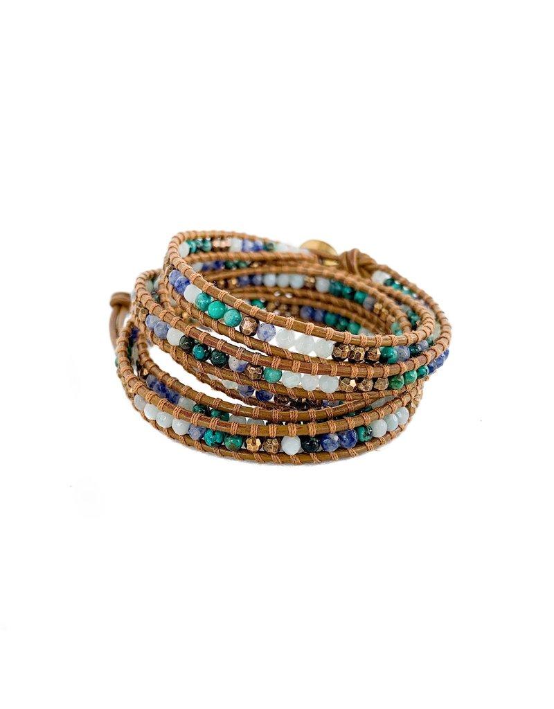 CHAN LUU African Turquoise Mix 5 Wrap Bracelet