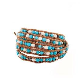 CHAN LUU Blue Stone & Bone Mix 5 Wrap Bracelet