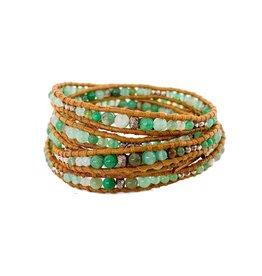 CHAN LUU Chrysophase & Silver 5 Wrap Bracelet
