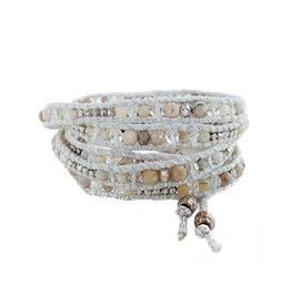 CHAN LUU White Stone Crystal Mix 5 Wrap Bracelet