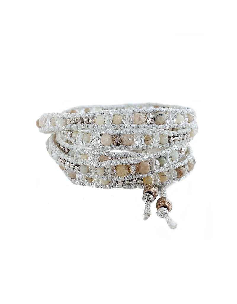 CHAN LUU White Stone Crystal Mix 5 Wrap Bracelet