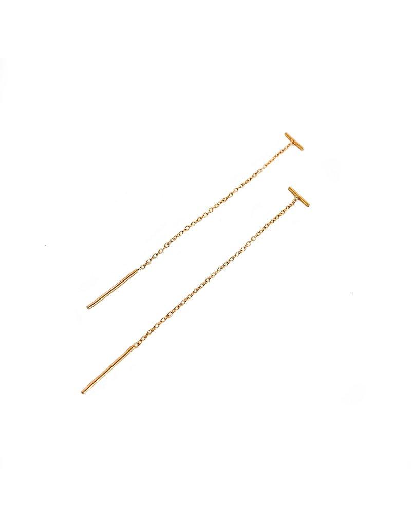CHAN LUU Gold Bar Chain Thread Thru Earring