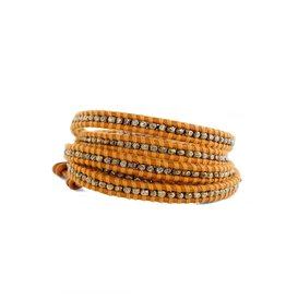 CHAN LUU Gold Nugget on Marigold 5 Wrap Bracelet