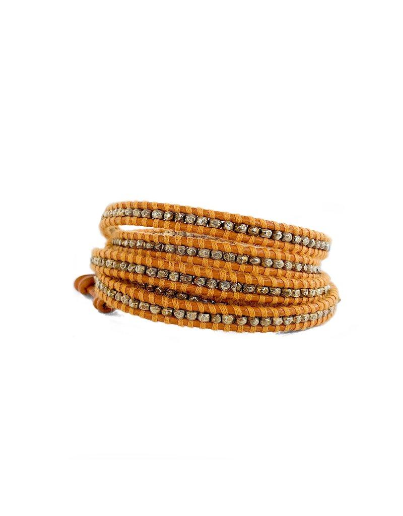 CHAN LUU Gold Nugget on Marigold 5 Wrap Bracelet