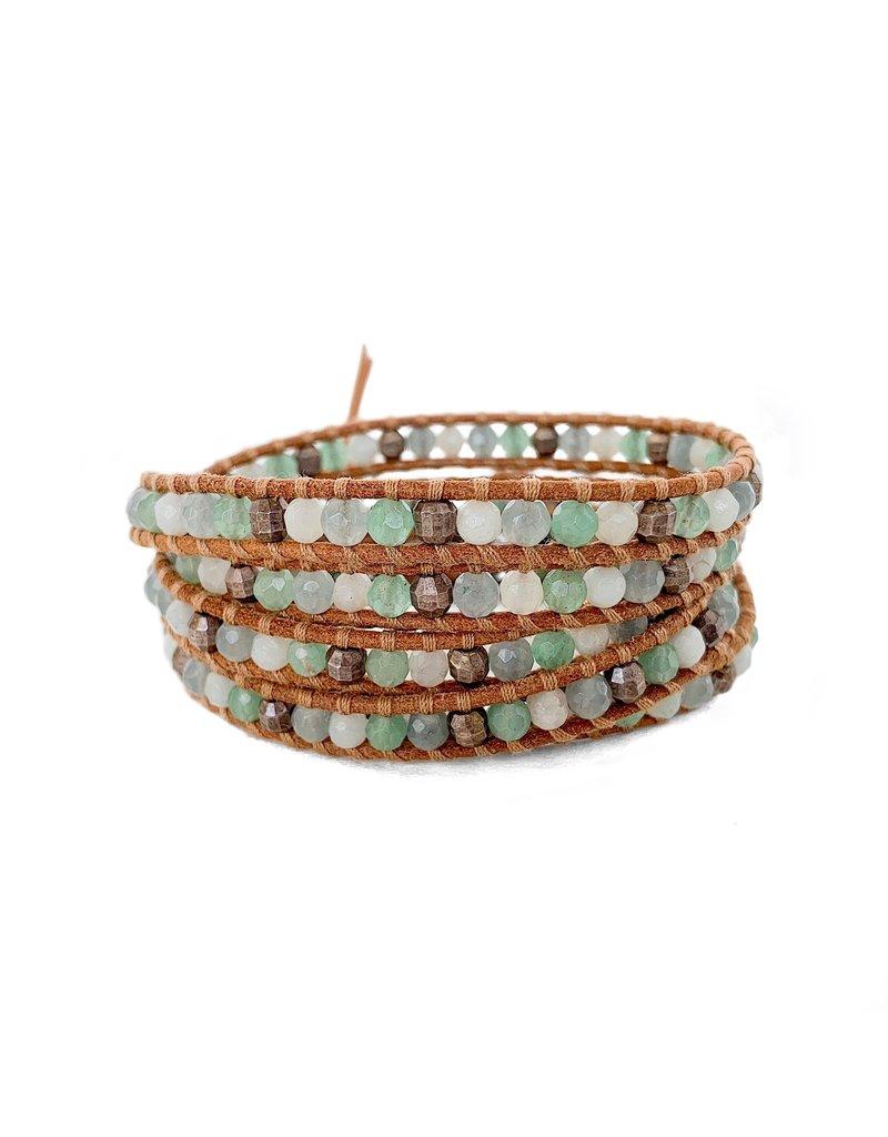 CHAN LUU Green Aventurine Mix 5 Wrap Bracelet