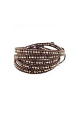 CHAN LUU Mixed Metal Nuggets on Brown 5 Wrap Bracelet