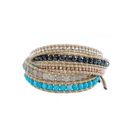 CHAN LUU 5 Wrap Turquoise & Silver Mix Bracelet