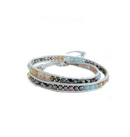 CHAN LUU Double Wrap Amazonite Mix On Pearl Bracelet