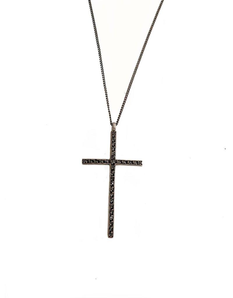 CHAN LUU Diamond Encrusted Large Cross Neck