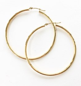 302 COLLECTION 14KT 40mm Thin Tube Hoop Earrings