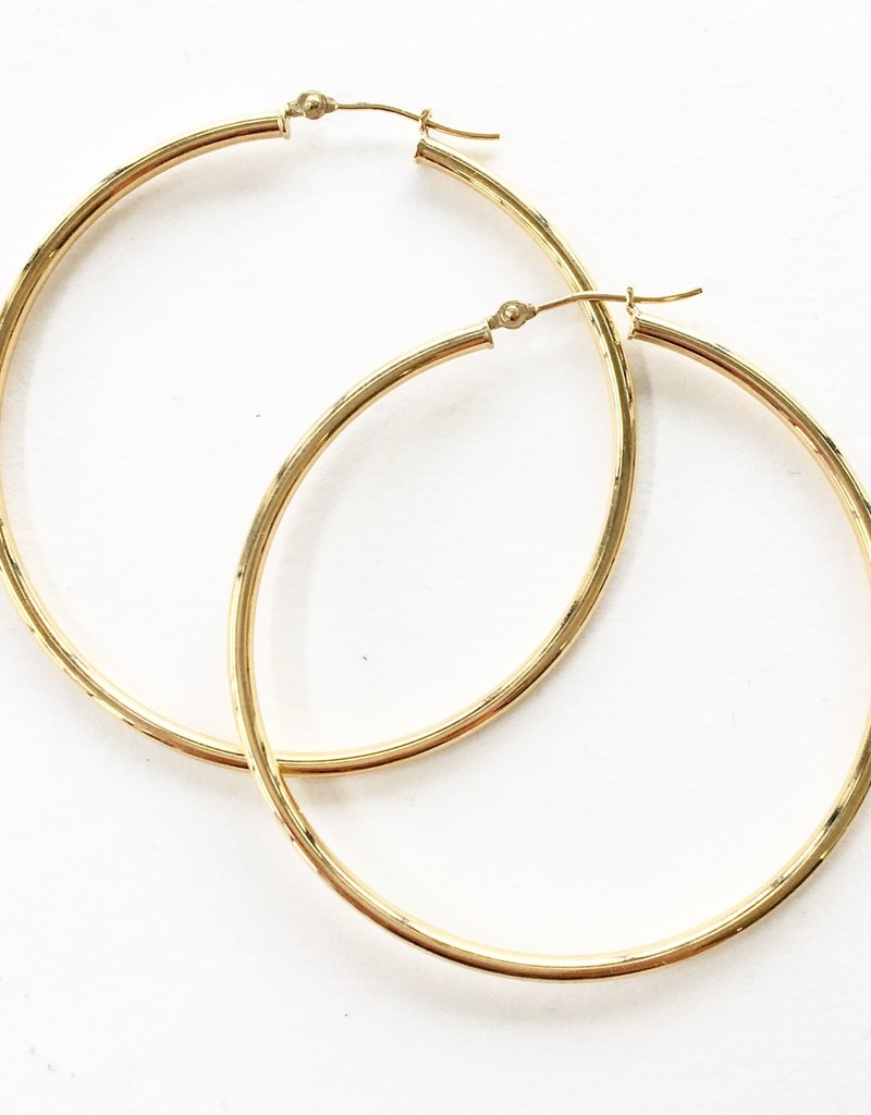 14KT 40mm Thin Tube Hoop Earrings