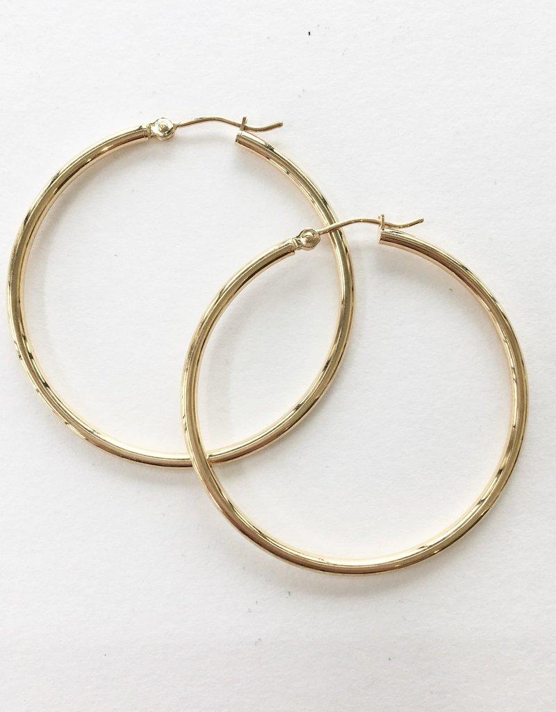 14KT 34mm Thin Tube Hoop Earrings