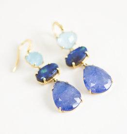 LAUREN K Aquamarine, Boulder Opal & Tanzanite Joyce Earrings