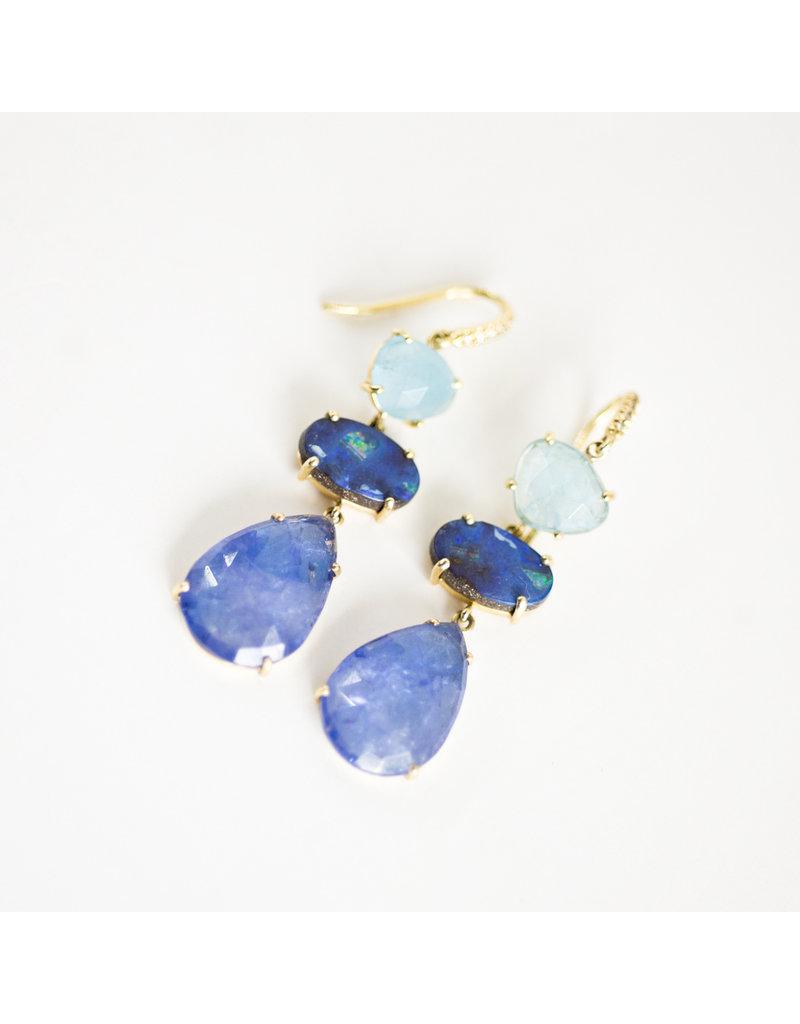 LAUREN K Aquamarine, Boulder Opal & Tanzanite Joyce Earring