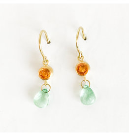 MALLARY MARKS Apple And Eve Earrings - Orange Sapphire & Emerald