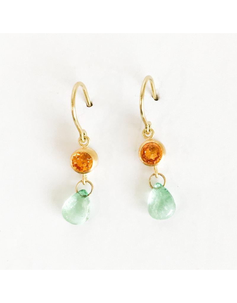 MALLARY MARKS Apple And Eve Earrings - Orange Sapphire & Emerald