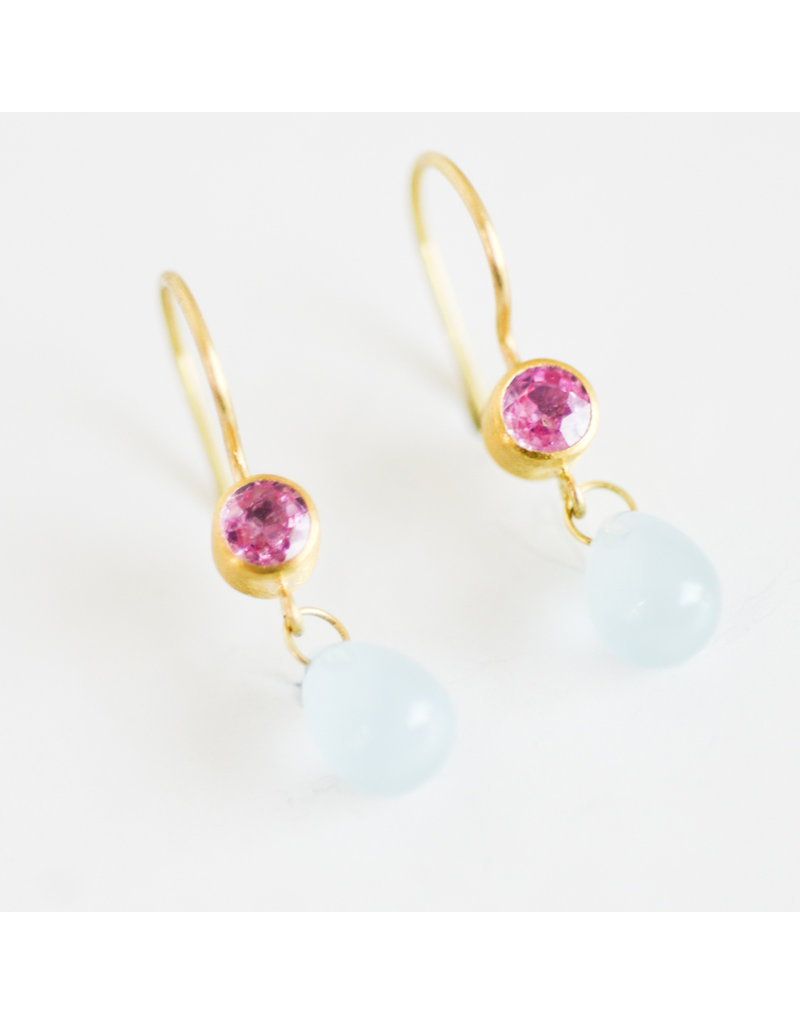 MALLARY MARKS Apple And Eve Earrings - Pink Sapphire & Aquamarine