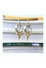 ERICA MOLINARI 18K Green Amethyst Diamond Triplet Drop Earring