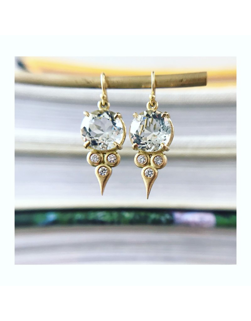 ERICA MOLINARI 18K Green Amethyst Diamond Triplet Drop Earring