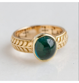 ERICA MOLINARI Leaf Pattern Green Tourmaline Ring