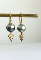 ERICA MOLINARI 18K Tahitian Pearl Diamond Triplet Earrings