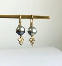 ERICA MOLINARI 18K Tahitian Pearl Diamond Triplet Earrings