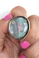 JAMIE JOSEPH Black Mother of Pearl Ring with Diamond