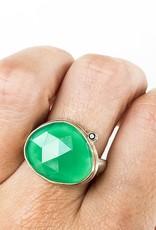 JAMIE JOSEPH Green Onyx Ring with Black Diamond