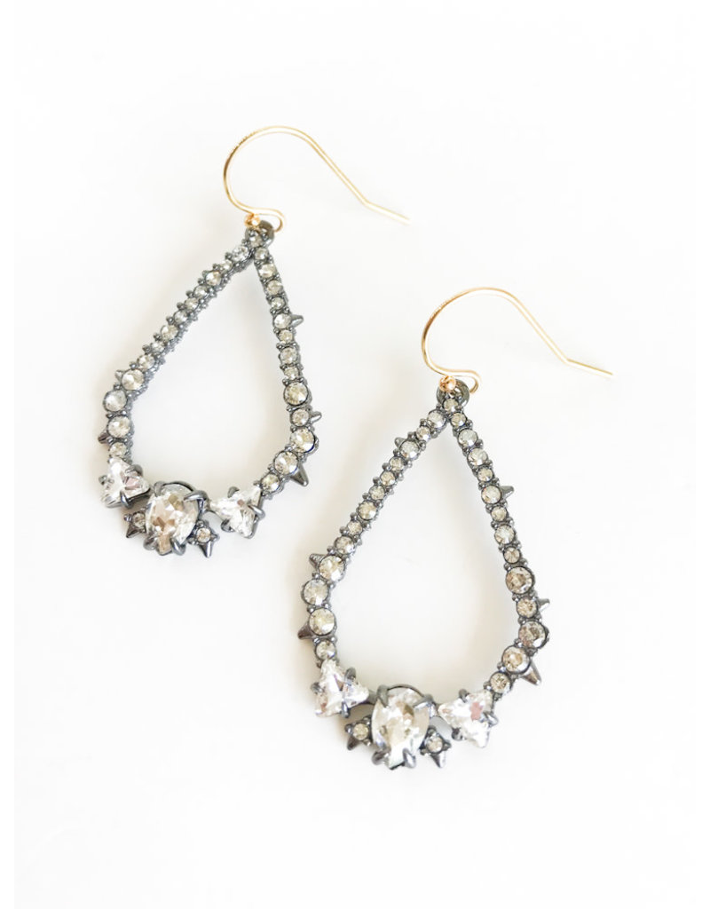 ALEXIS BITTAR Crystal Encrusted Spiked Tear Earrings