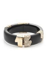 ALEXIS BITTAR Crystal Encrusted Sectioned Hinge Bracelet - Black & Gold