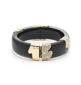 ALEXIS BITTAR Black Crystal Incrusted Sectioned Hinge Bracelet
