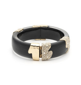 ALEXIS BITTAR Crystal Encrusted Sectioned Hinge Bracelet - Black & Gold