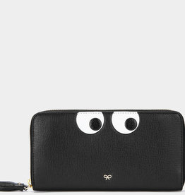 ANYA HINDMARCH Large Zip Round Wallet Eyes - Black