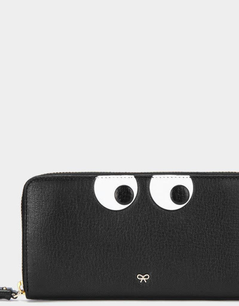 ANYA HINDMARCH Large Zip Round Wallet Eyes - Black