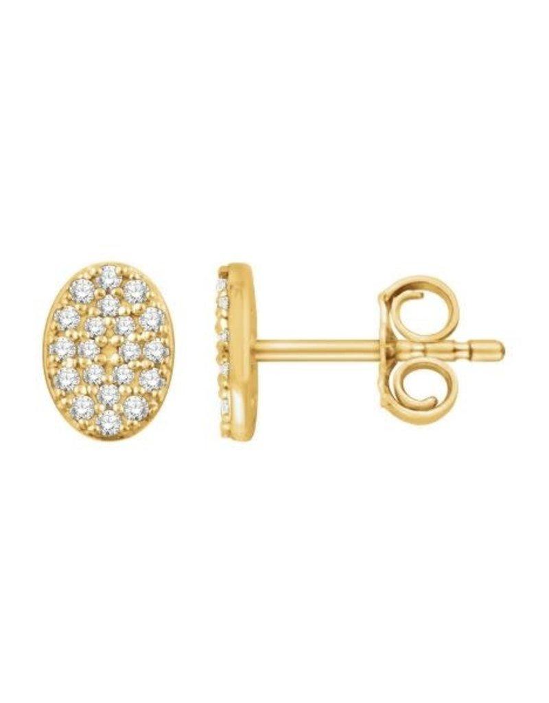 Diamond Oval Cluster Earrings