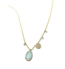 MEIRA T Diamond Halo Amazonite Charm Necklace