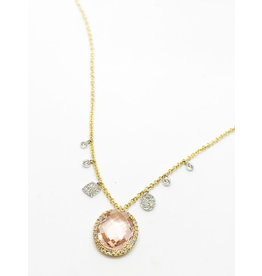 MEIRA T Diamond Halo Morganite Charm Necklace