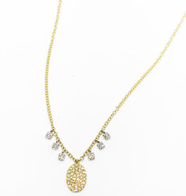 MEIRA T Pave Oval w/ Diamond Square Fringe Necklace
