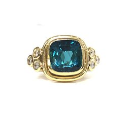 TEMPLE ST CLAIR Green Tourmaline Arabesque Ring