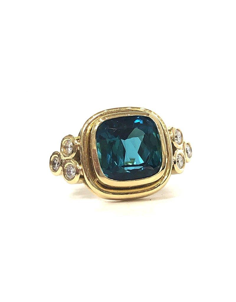 TEMPLE ST CLAIR Green Tourmaline Arabesque Ring