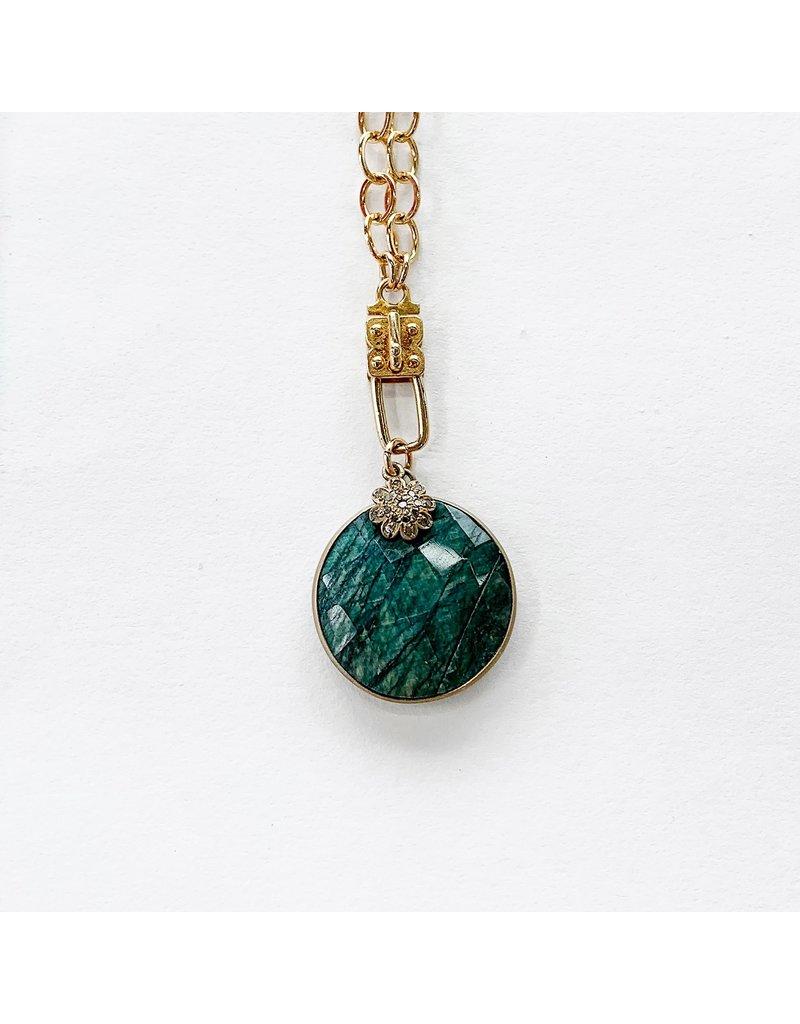 SENNOD Emerald Round Vignette with Diamond Flower