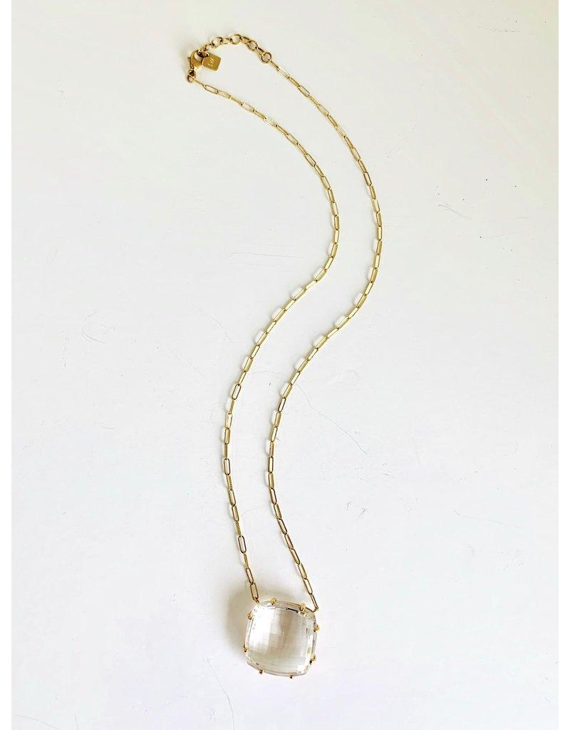JAMIE JOSEPH Square Checkerboard White Topaz Necklace