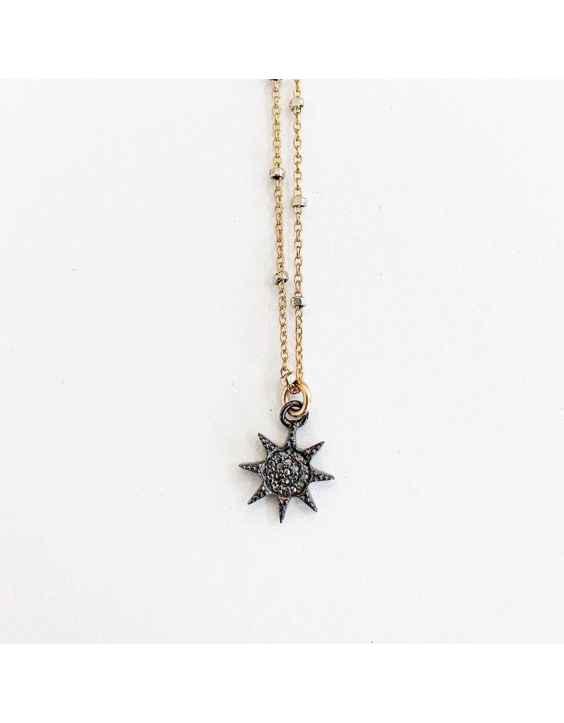 SENNOD Gunmetal Diamond Starburst Necklace