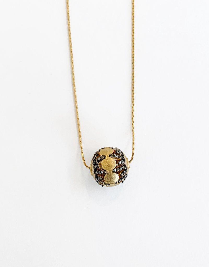 "SENNOD 18"" Diamond Ball Two Tone Necklace"
