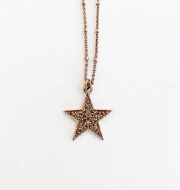 "SENNOD 16"" Rose Gold Diamond Star Necklace"