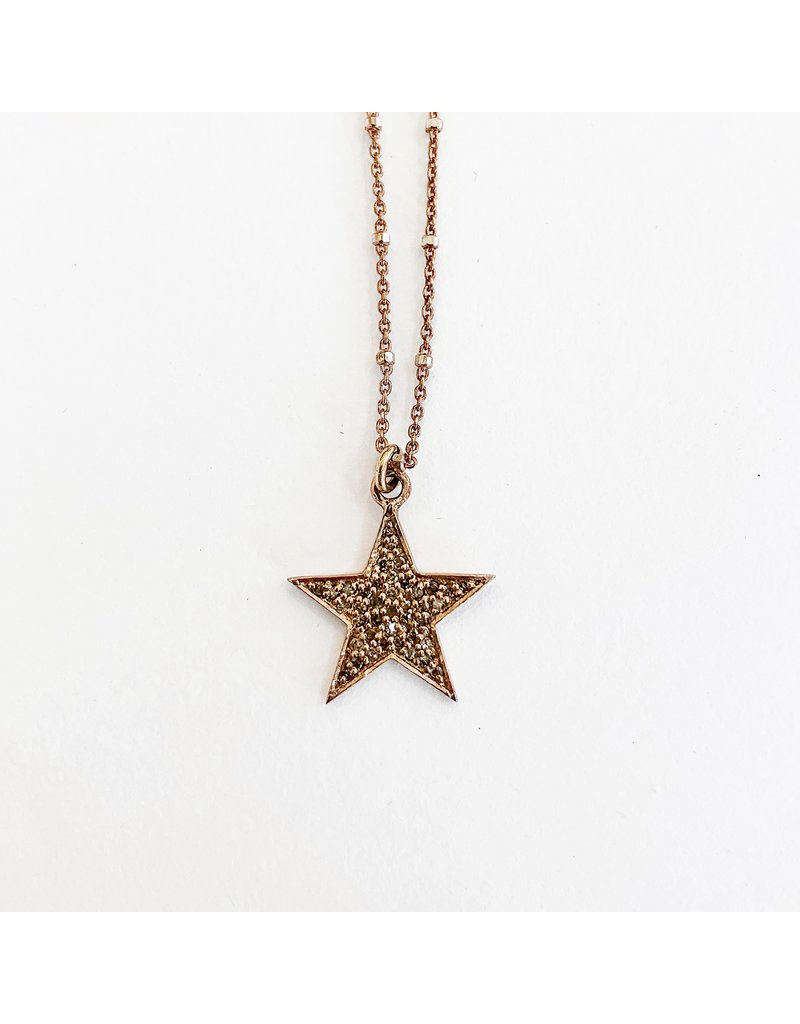 SENNOD Rose Gold Diamond Star Necklace